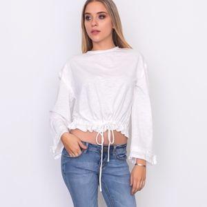 🌹ATHLEISURE🌹Soft White Drawstring Hem Jersey Top